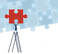 woman on ladder holder puzzle piece