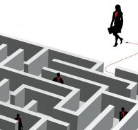 woman lawyer entering a maze
