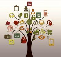 social media icons on tree