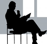 Consulting man sitting in chair