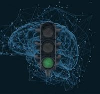 green traffic light in front of brain