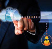 man in suit touching padlock in cloud