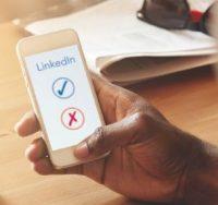 phone with linkedin app