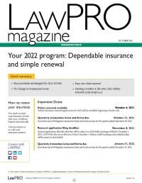 Latest Issue of LAWPRO Magazine